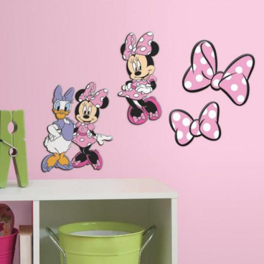 4 Stickers Disney Minnie & Daisy 3D Relief en mousse
