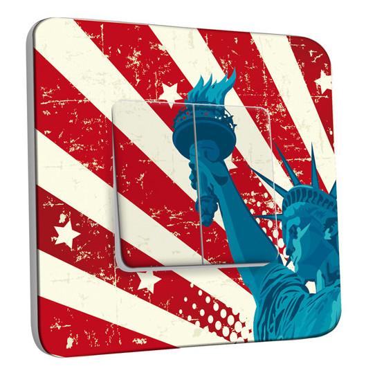 Interrupteur Décoré Double - Motif Americain Statue de la Liberté