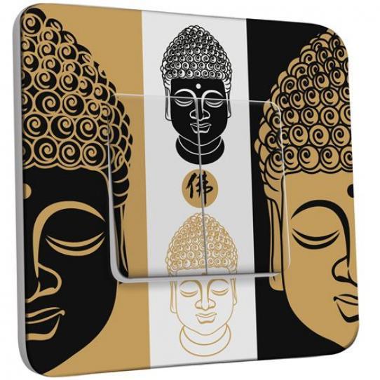 Interrupteur Décoré Double Va et Vient - Bouddha Zen Black&Gold 1