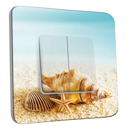 Interrupteur Décoré Double Va et Vient - Coquillages Etoile de mer 10