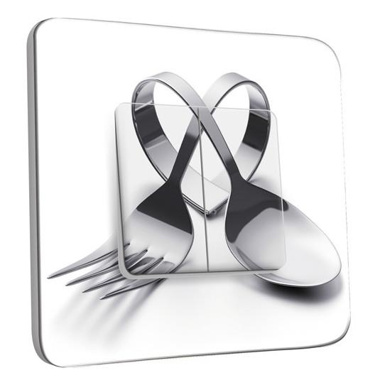Interrupteur Décoré Double Va et Vient - Cuisine Couverts en Coeur