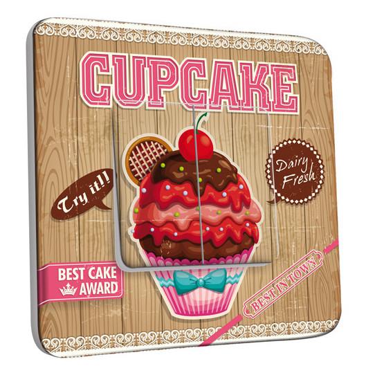 Interrupteur Décoré Double Va et Vient - Cupcake