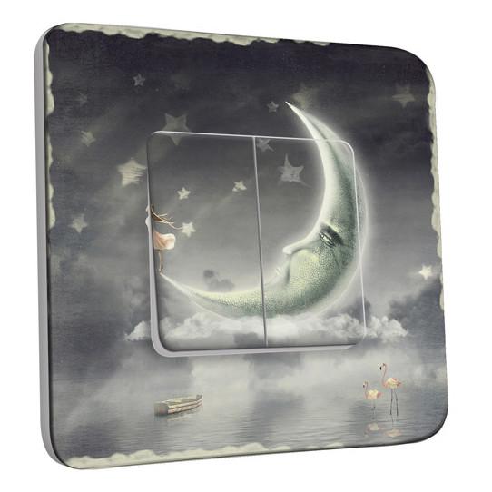 Interrupteur Décoré Double Va et Vient -  Étoiles lune