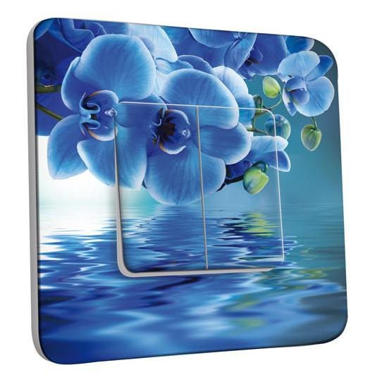 Interrupteur Décoré Double Va et Vient - Fleurs Abstraits Bleus