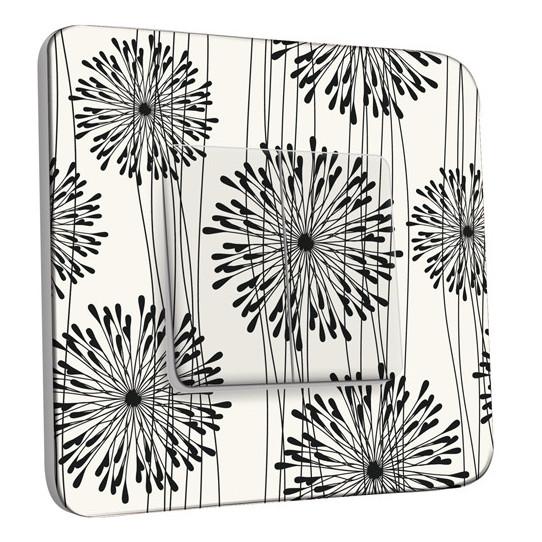 Interrupteur Décoré Double Va et Vient - Fleurs design Black&White 1