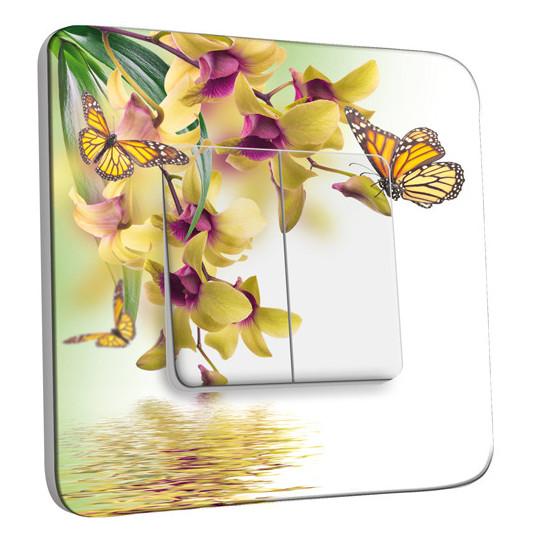 Interrupteur Décoré Double Va et Vient - Fleurs Papillons 10
