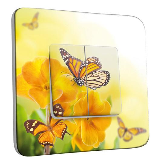 Interrupteur Décoré Double Va et Vient - Fleurs,Papillons Jaunes