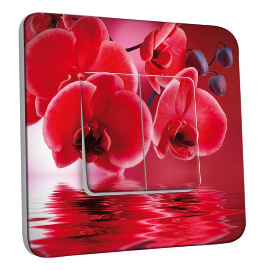 Interrupteur Décoré Double Va et Vient -  Fleurs Rouges Fond Rouge