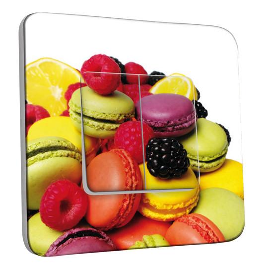 Interrupteur Décoré Double Va et Vient -  Fruits et Macarons