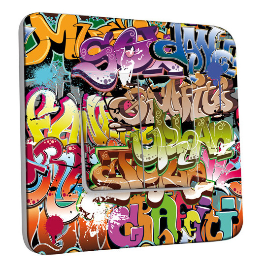 Interrupteur Décoré Double Va et Vient - Graffiti 2