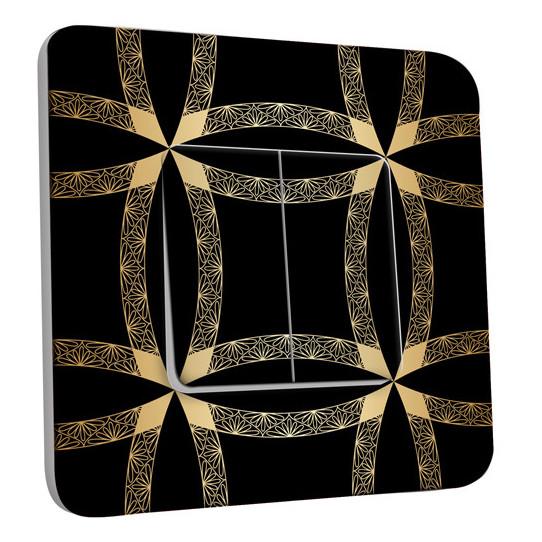 Interrupteur Décoré Double Va et Vient -  Motif Oriental Black&Gold 1
