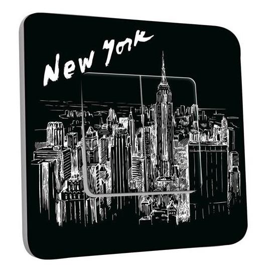 Interrupteur Décoré Double Va et Vient - New York Black&White 1
