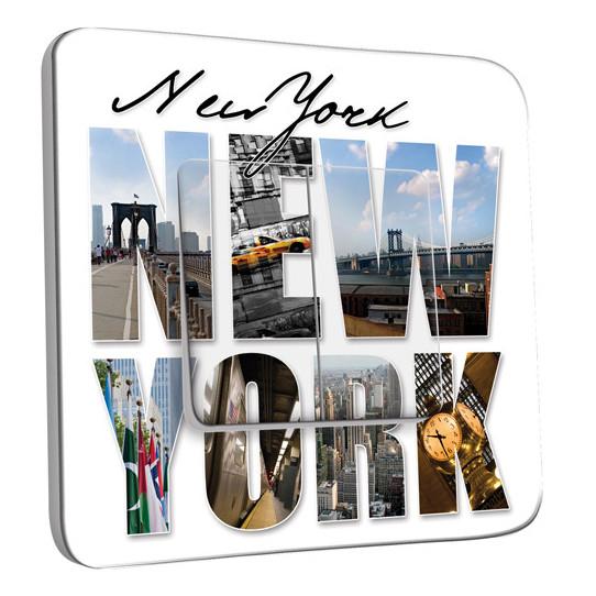 Interrupteur Décoré Double Va et Vient - New York Lettres 1