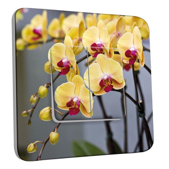 Interrupteur Décoré Double Va et Vient -  Orchidée Jaune
