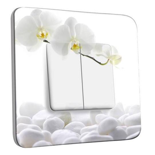 Interrupteur Décoré Double Va et Vient - Orchidéés Blanches