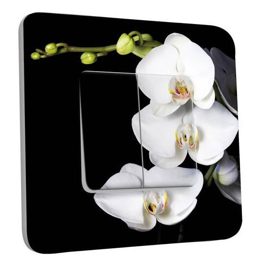 Interrupteur Décoré Double Va et Vient -  Orchidées Fond Noir