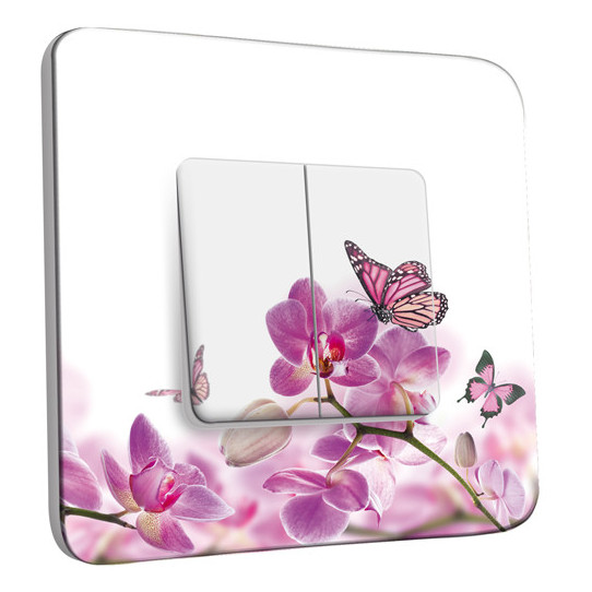 Interrupteur Décoré Double Va et Vient - Papillons Orchidées 11
