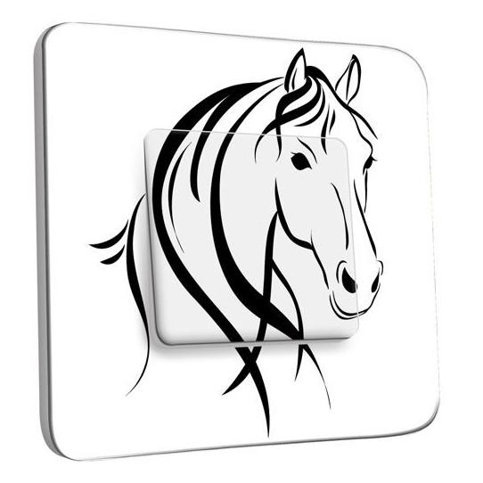 Interrupteur Décoré Poussoir - Cheval Black&White