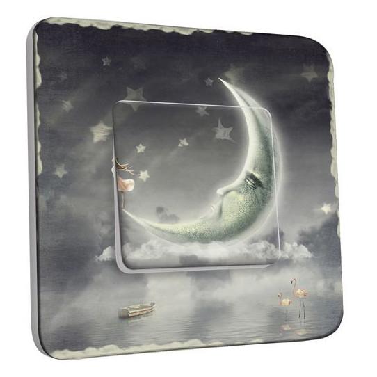Interrupteur Décoré Poussoir - Étoiles Lune