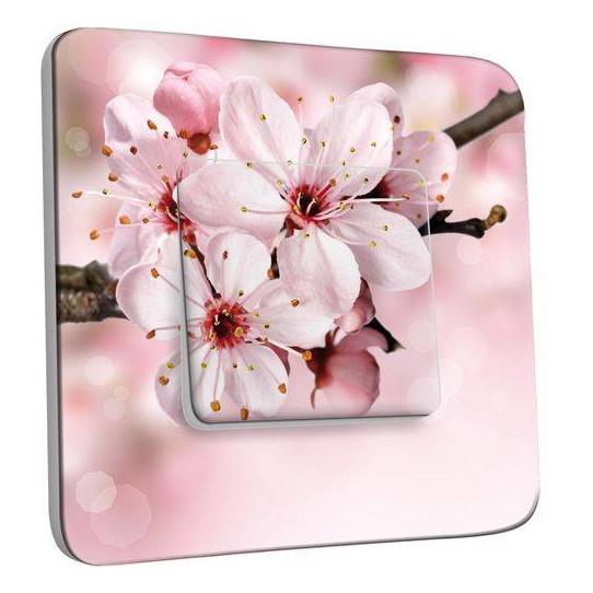 Interrupteur Décoré Poussoir - Fleur de cerisier Zoom