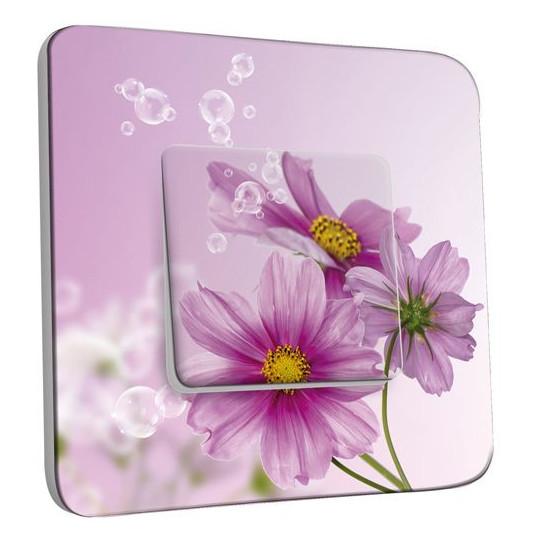 Interrupteur Décoré Poussoir - Fleur violets