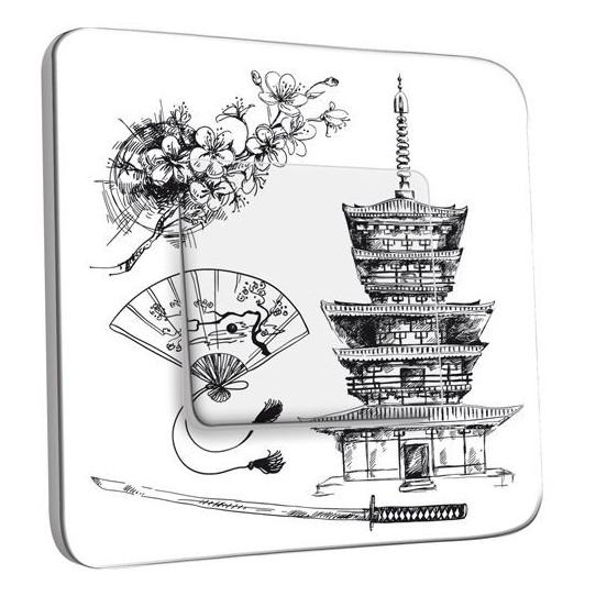 Interrupteur Décoré Poussoir - Motif Chinois Black&White