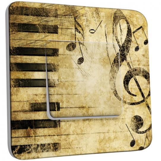 Interrupteur Décoré Poussoir - Musique Old Style