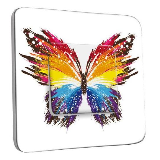 Interrupteur Décoré Poussoir - Papillon Multicoloré Design