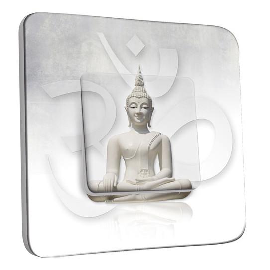 Interrupteur Décoré Simple Va et Vient - Bouddha Zen Blanc