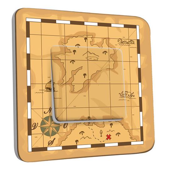 Interrupteur Décoré Simple Va et Vient - Carte au Trésor