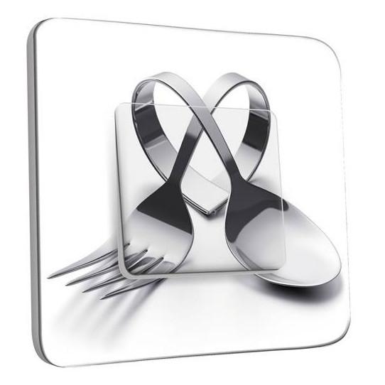 Interrupteur Décoré Simple Va et Vient - Cuisine Couverts en Coeur