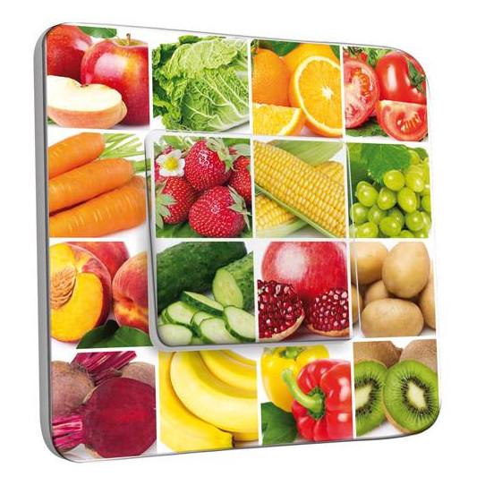 Interrupteur Décoré Simple Va et Vient -  Damier Fruit et légume