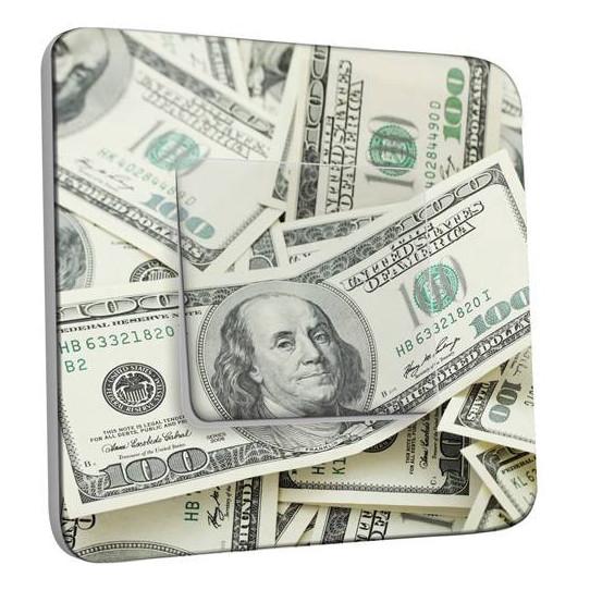 Interrupteur Décoré Simple Va et Vient - Dollars Americains Zoom