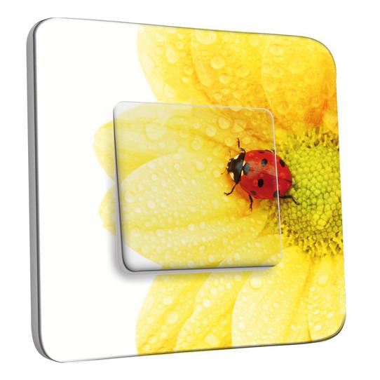 Interrupteur Décoré Simple Va et Vient - Fleur Coccinelle