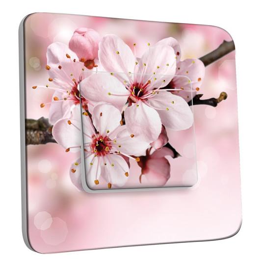 Interrupteur Décoré Simple Va et Vient - Fleur de cerisier Zoom