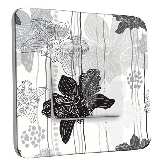 Interrupteur Décoré Simple Va et Vient - Fleurs Abstrait Black&White