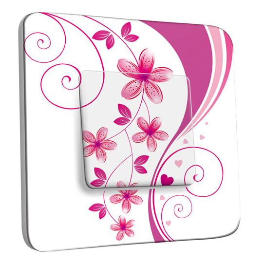 Interrupteur Décoré Simple Va et Vient - Fleurs Abstraits Roses 3