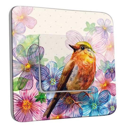 Interrupteur Décoré Simple Va et Vient - Fleurs Oiseaux Abstrait 11