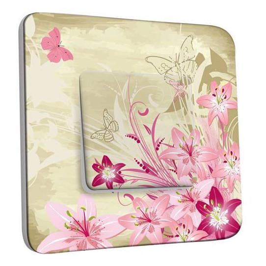 Interrupteur Décoré Simple Va et Vient - Fleurs Papillons Abstraits