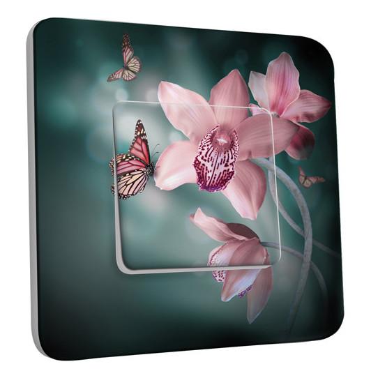 Interrupteur Décoré Simple Va et Vient - Fleurs Papillons Roses 2
