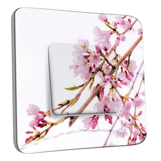 Interrupteur Décoré Simple Va et Vient - Fleurs Roses Fond Blanc 3