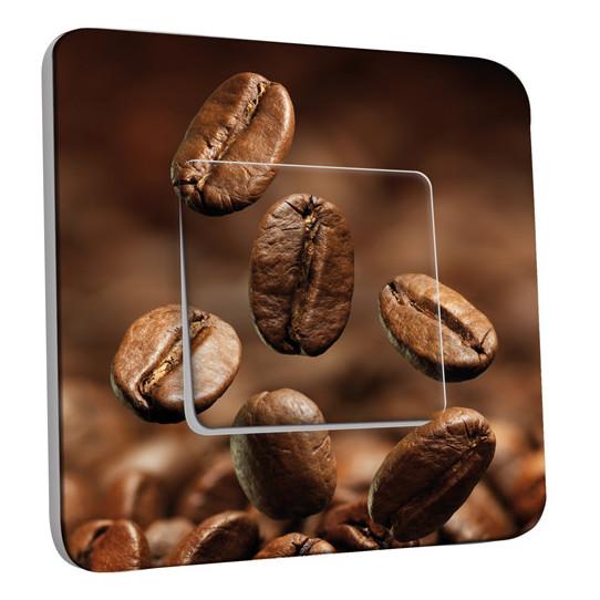 Interrupteur Décoré Simple Va et Vient - Grains de café Zoom
