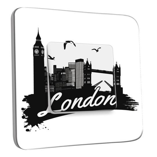 Interrupteur Décoré Simple Va et Vient - London Black&White