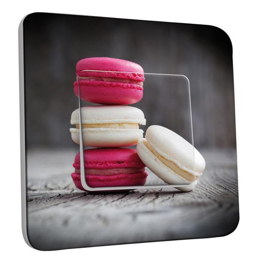 Interrupteur Décoré Simple Va et Vient - Macarons Blancs/Fushia