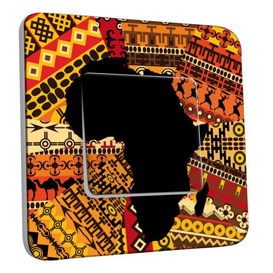 Interrupteur Décoré Simple Va et Vient - Motif Africain Design 2