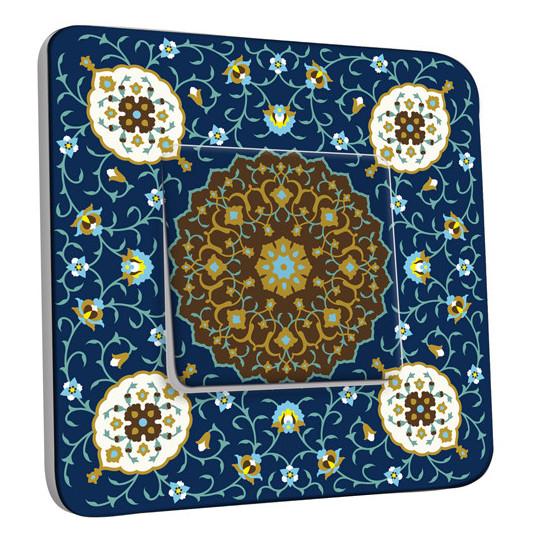 Interrupteur Décoré Simple Va et Vient - Motif Oriental Bleu Mosaïque