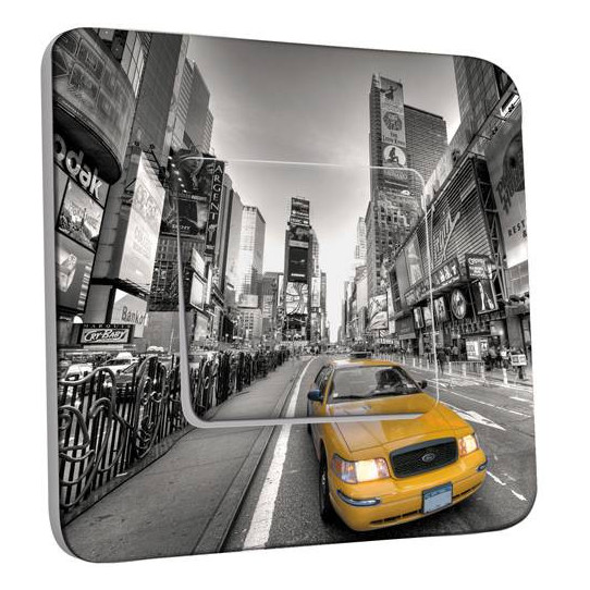 Interrupteur Décoré Simple Va et Vient -  New York Taxi 01