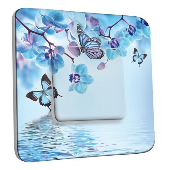 Interrupteur Décoré Simple Va et Vient - Orchidée Papillon Bleu