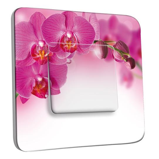 Interrupteur Décoré Simple Va et Vient - Orchidée Rose