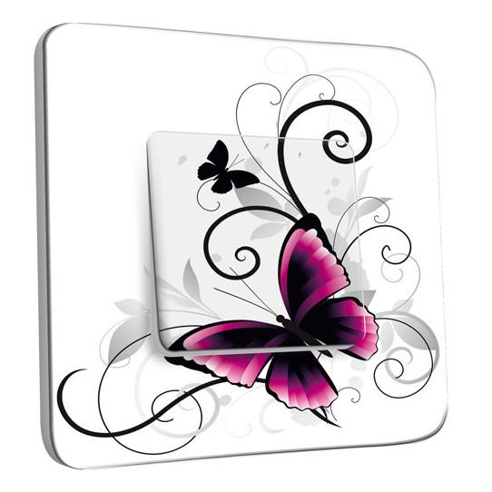 Interrupteur Décoré Simple Va et Vient - Papillon Design White